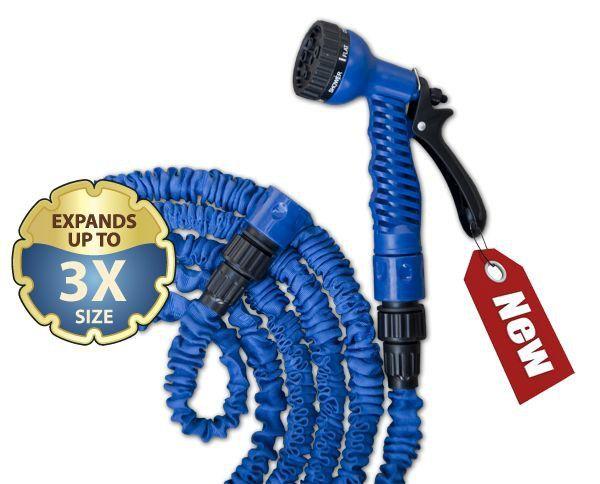Flexibilní, smršťovací zahradní hadice 7,5m-22m s postřikovačem - modrá TRICK HOSE *HOBY 1.1Kg BR-WTH722BL