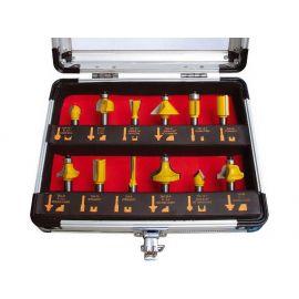 Frézy tvarové do dřeva s SK plátky, sada 12ks, v kufru, EXTOL