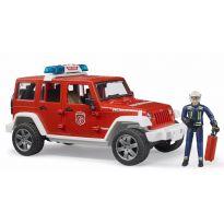 Hasičský Jeep Wrangler Unlimited Rubicon + hasič a maják 02528 BRUDER