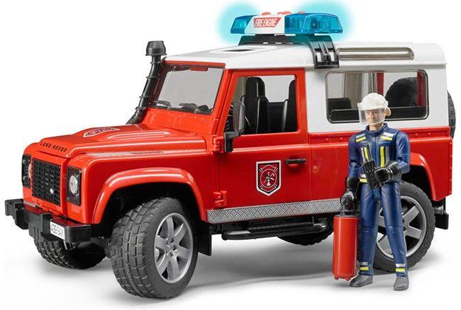 Hasičský Land Rover Defender + hasič a maják 02596 BRUDER Nářadí-Sklad 1 | 0