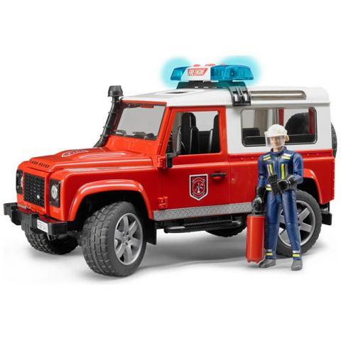 Hasičský Land Rover Defender + hasič a maják 02596 BRUDER