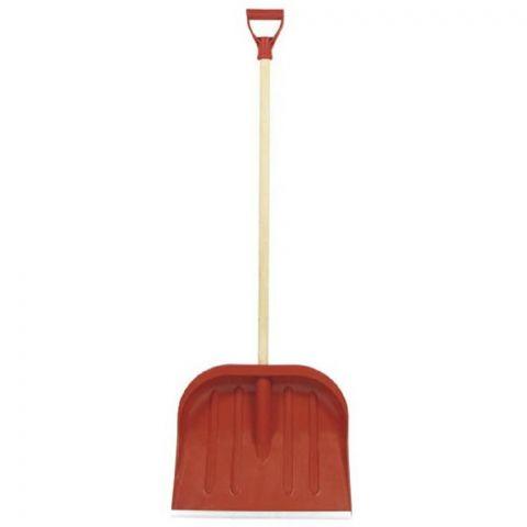 Hrablo na sníh D červené, 37,5x47cm, dřevěná násada