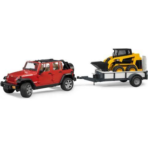 Jeep Wrangler Unlimited Rubicon + přívěs a nakladač 02925 BRUDER