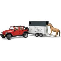 Jeep Wrangler Unlimited Rubicon + přívěs na koně a kůň 02926 BRUDER