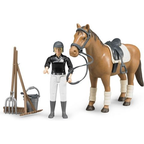 Jezdecký set - jezdkyně s příslušenstvím a kůň 62505 BRUDER