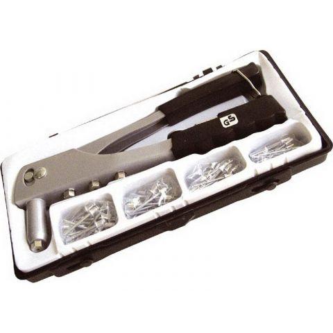 Kleště nýtovací + sada nýtů 60ks, pro trhací nýty 2,4-3,2-4,0-4,8mm z materiálu Al, EXTOL CRAFT