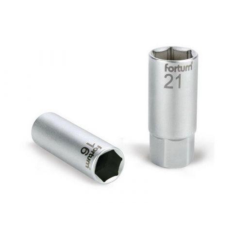 Klíč nástrčný na zapalovací svíčky, 1/2', 21mm, L 65mm, 61CrV5, FORTUM
