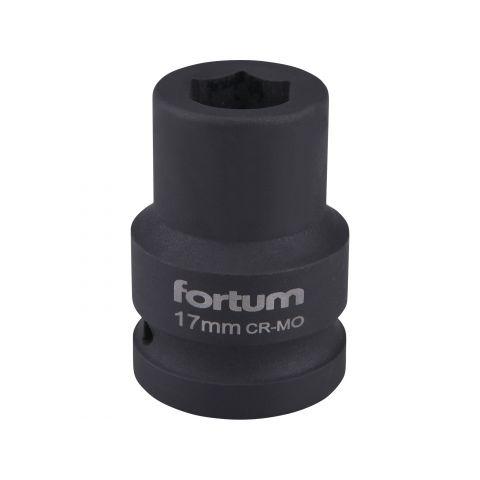 """Klíč nástrčný rázový, 3/4"""", 17mm, L 52mm, CrMoV, FORTUM"""