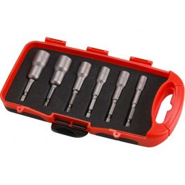 """Klíče nástrčné do vrtačky, sada 6ks, 6-7-8-10-12-13mm, délka 65mm, uchycení do vrtačky nebo nástavce pomocí 1/4"""" šes"""