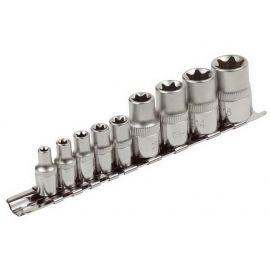 """Klíče nástrčné vnitřní TORX , sada 9ks, 1/4"""", E5-E6-E7-E8-E10, 1/2"""", E12-E14-E16-E18, CrV, EXTOL PREMIUM"""