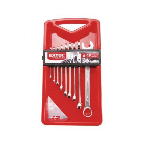 Klíče očkoploché, sada 9ks, 6-7-8-10-12-13-14-17-19mm, CrV, EXTOL PREMIUM