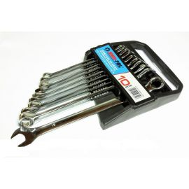 Klíče očkové-otevřené 10ks 10-19mm CrV MAR-POL, klip