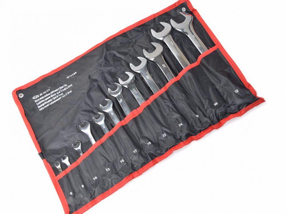 Klíče očkové-otevřené 12ks, 6-32mm, CrV, skládací obal GEKO