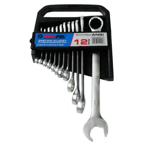 Klíče očkové-otevřené, ráčnový systém, 6-22mm CrV MAR-POL, klip