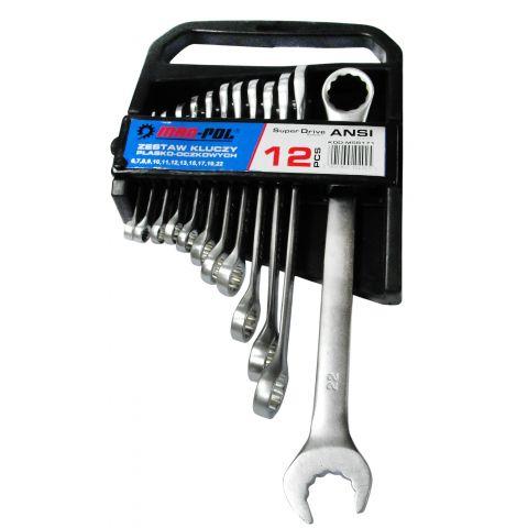 Klíče očkové-otevřené, super-drive systém, 6-22mm CrV MAR-POL, klip