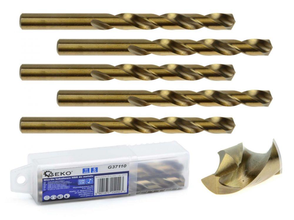 Kobaltový vrták do kovu HSS-Co, DIN 338, 11mm, 5ks GEKO