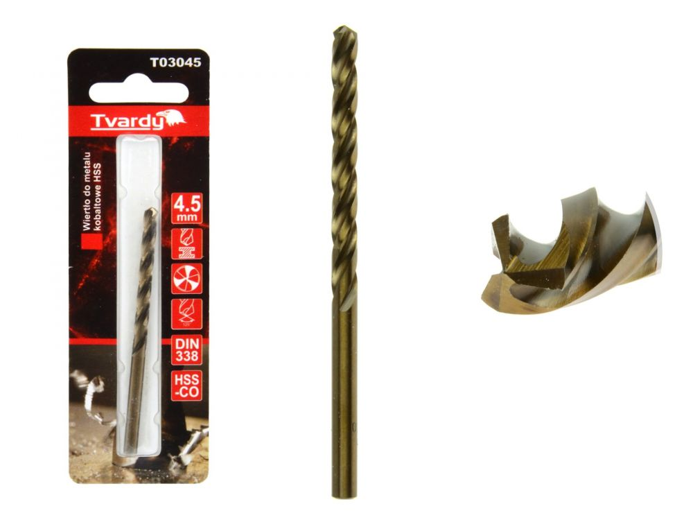 Kobaltový vrták do kovu HSS-Co, M35, 4,5mm TVARDY