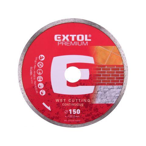 Kotouč diamantový řezný celoobvodový, 150x22,2mm, mokré řezání, EXTOL PREMIUM