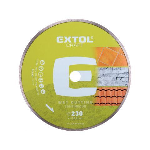Kotouč diamantový řezný celoobvodový, 230x22,2mm, mokré řezání, EXTOL CRAFT