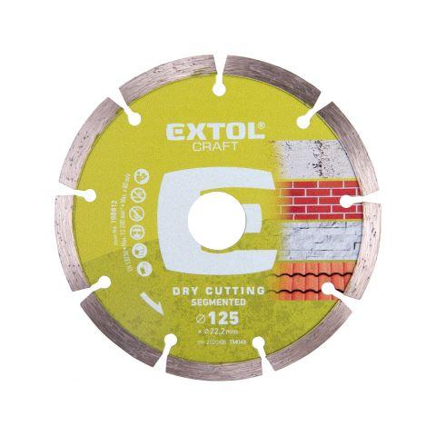 Kotouč diamantový řezný segmentový, 125x22,2mm, suché řezání, EXTOL CRAFT