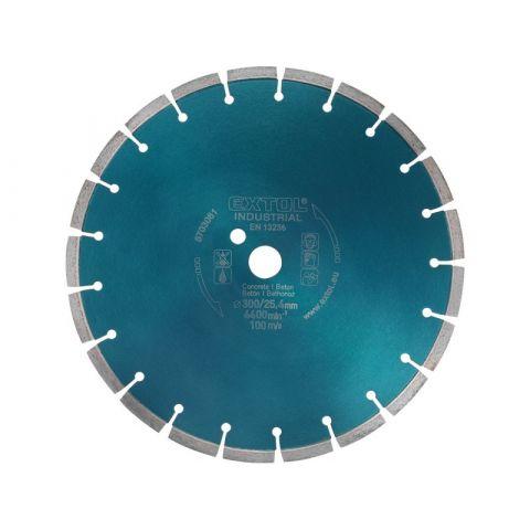 Kotouč diamantový řezný segmentový na BETON, 300x25,4mm, suché i mokré řezání, EXTOL INDUSTRIAL