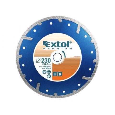 Kotouč diamantový řezný turbo plus, 230x22,2mm, EXTOL PREMIUM