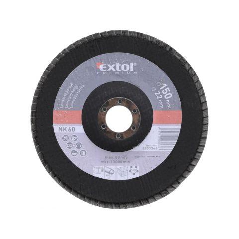 Kotouč lamelový šikmý, P60, 150mm, sklotextilní podložka, korund, EXTOL PREMIUM