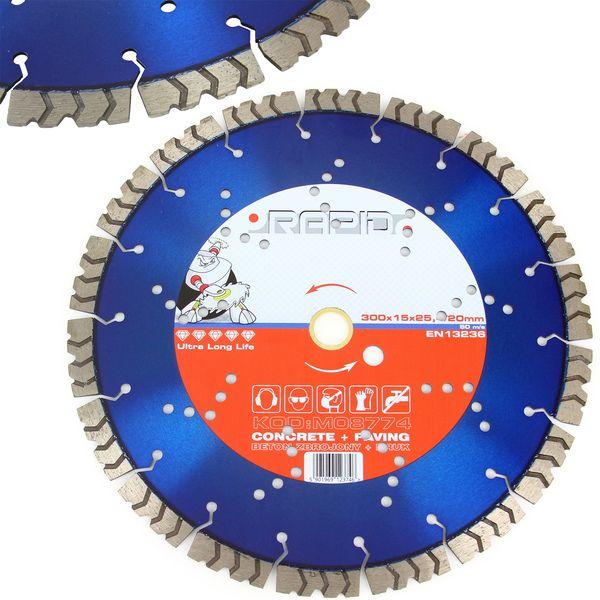 Kotouč řezný diamantový 300x15x25,4/20mm RAPID *HOBY 1.3Kg M08774