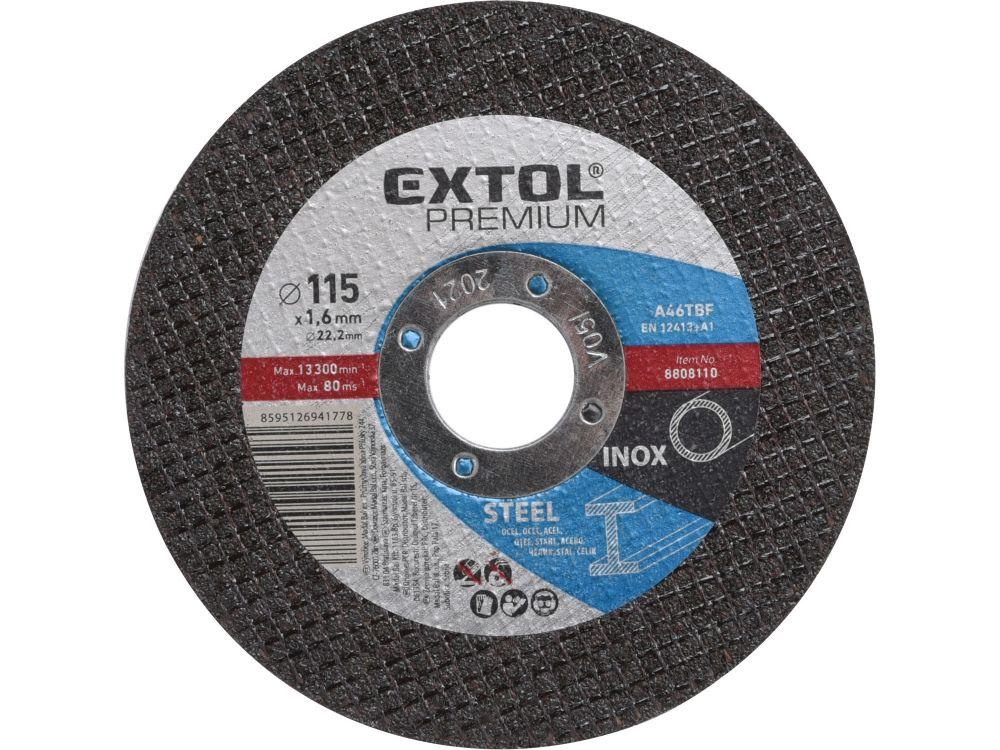 Kotouč řezný na ocel, 115x1,6x22,2mm, EXTOL PREMIUM *HOBY 0.04Kg 8808110