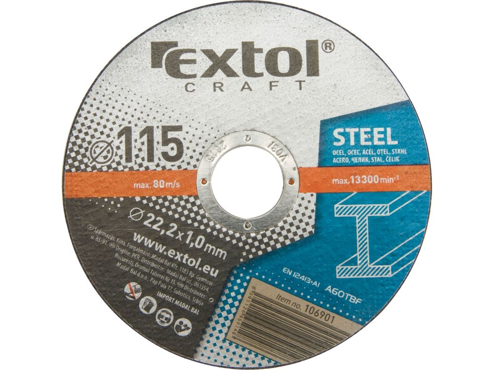Kotouče řezné na kov, 5ks, 115x1,0x22,2mm, EXTOL CRAFT *HOBY 0.14Kg 106901