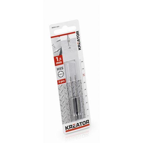 KRT011301 - 2 ks HSS Vrtáků do kovu HEX 1.5 x 61 mm KREATOR