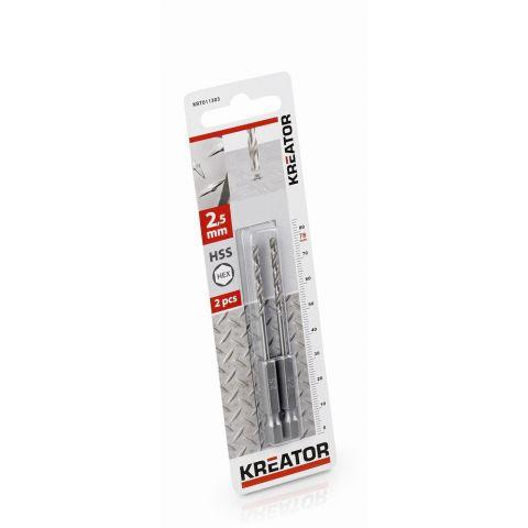 KRT011303 - 2 ks HSS Vrtáků do kovu HEX 2.5 x 78 mm KREATOR