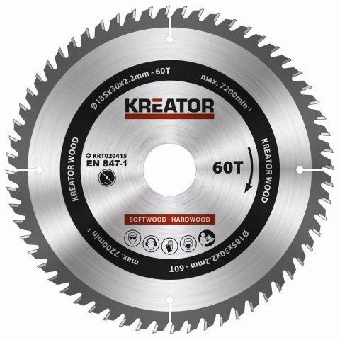 KRT020415 - Pilový kotouč na dřevo 185mm, 60T KREATOR