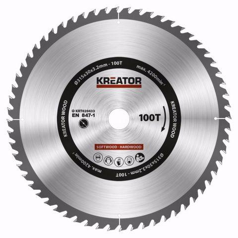 KRT020433 - Pilový kotouč na dřevo 315mm, 100T KREATOR