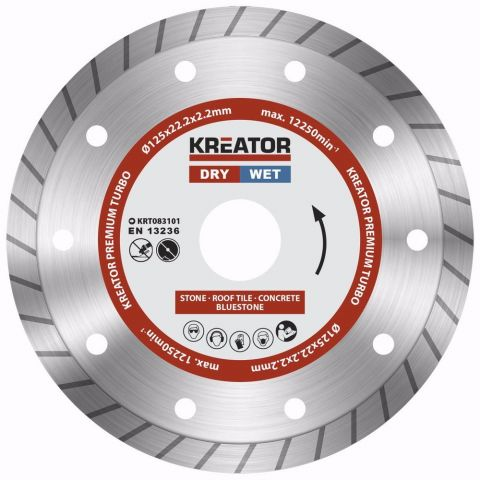 KRT083101 - Diamantový kotouč celoobvodový 125mm PREMIUM TURBO KREATOR