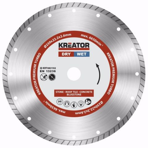KRT083102 - Diamantový kotouč celoobvodový 230mm PREMIUM TURBO KREATOR