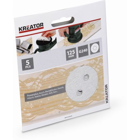 KRT230559 5x Brusný papír 125 mm na barvu G240 KREATOR