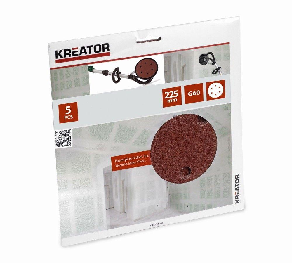 KRT232004 - 5ks Brusný kotouč 225 mm G60 KREATOR *HOBY 0Kg KRT232004