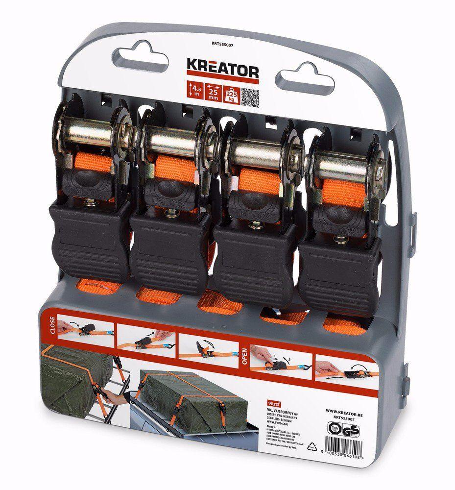 KRT555007 Upínací pás ráčnový s háky 225kg/4,5m 4ks KREATOR Nářadí-Sklad 1   0