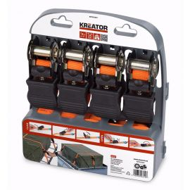 KRT555007 Upínací pás ráčnový s háky 225kg/4,5m 4ks KREATOR