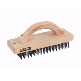 KRT561001 Ruční drátěný ocelový kartáč 6-ti řadý, dřevěný KREATOR