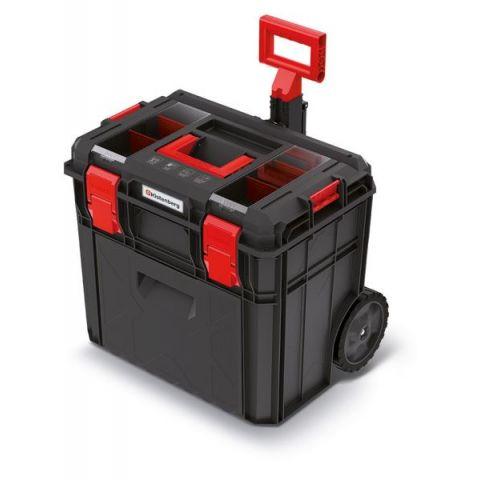 Kufr na nářadí s kolečky a přihrádkou X BLOCK LOG černý 546x380x510 KISTENBERG