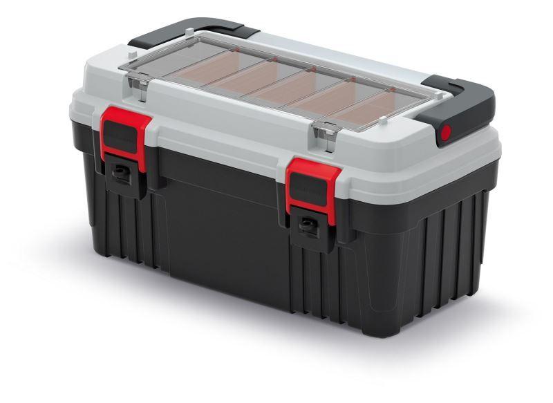 Kufr na nářadí s kovovým držadlem OPTIMA šedý 470x256x238 KISTENBERG
