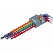 L-klíče imbus prodloužené, sada 9ks, 1,5-10mm, s kuličkou, barevné, CrV, EXTOL PREMIUM