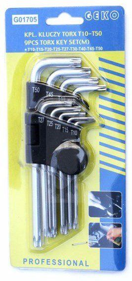 L-klíče TORX, sada 9ks, T10-T50, 190mm, CrV, GEKO