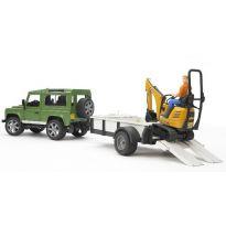Land Rover Defender + přívěs + mini bagr JCB + dělník 02593 BRUDER