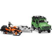 Land Rover Defender + přívěs + sněžný skútr + figurka 02594 BRUDER