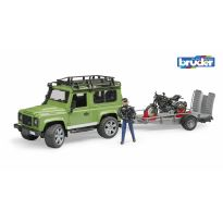 Land Rover Defender s přívěsem, motorkou Ducati a řidičem Bruder 2598