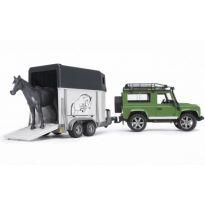 Land Rover Defender s přívěsem na koně + kůň 02592 BRUDER