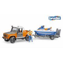 Land Rower Defender s přívěsem s vodním skútrem a figurkou 2599 BRUDER